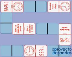 PROYECTO CANALS. Dominó de medidas horarias. Domino en el que se combinan diferentes maneras de expresar la hora por escrito: lenguaje verbal, lenguaje numérico, notación típica del reloj digital y esquema de un reloj de esfera dibujado.