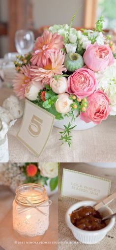 pink, green, white and yellow flower wedding centerpieces