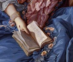 """La poesia è un eco, che chiede all'ombra di ballare. (Carl Sandburg).  Dettaglio dal dipinto attribuito a François Boucher ''Madame de Pompadour"""" Foto"""
