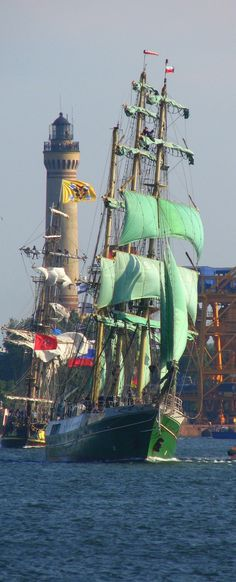 "German Tall Ship, ""Alexander von Humboldt"", sailing in Swinoujscie/Swinemünde…"