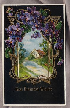 ART NOUVEAU postcard violets and cosy cottage by mudinthe