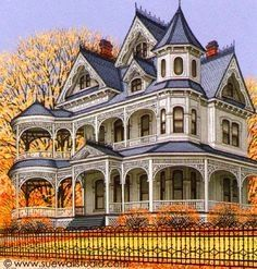 Sue Wall - Pet Portraits and Home Portraits - Traditional Miniature Paintings-Beautiful house Victorian Architecture, Beautiful Architecture, Beautiful Buildings, Beautiful Homes, Victorian Style Homes, Victorian Houses, Victorian Design, Le Riad, Casas The Sims 4