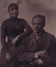 1870s Tintype Photo~Well Dressed AFRICAN AMERICAN MAN & WOMAN~Sixth Plate~1/6