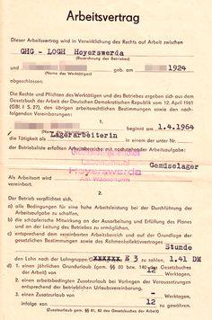 Arbeitsvertrag von 1964 für eine Lagerarbeiterin in einem DDR-Gemüselager (Großhandelsgesellschaft Lebensmittel).