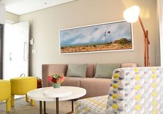 Bright pops of colour livens the space up at Avemore Apartments Stellenbosch.