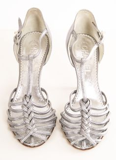 Chanel Silver Metallic Strappy Sandals with Braided T-Strap