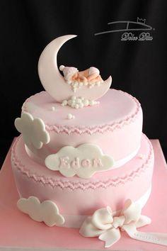 and baby design Dolce Dita Dolce Dita Torta Baby Shower, Girl Shower Cake, Baby Birthday Cakes, Baby Girl Cakes, Bolo Paintball, Christening Cake Girls, Fondant Baby, Fondant Rose, Fondant Flowers