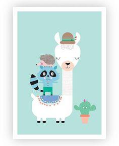 Design Mondo Lucky Llama Art Print #artprint #wallart #kidsroom #ad #nursery