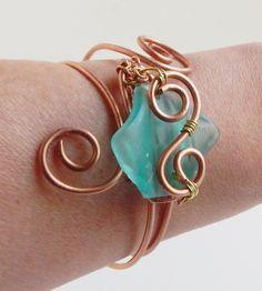 Wire Wrap Sea Glass Bracelet, Aqua Glass - $30.00 - Handmade Jewelry, Crafts and Unique Gifts by SerendipitiniJewelry  #handmade #handmadebracelet #seaglassjewelry #statementbracelet #wirewrapping #giftsforgirlfriends #bohojewelry #uniquebracelet