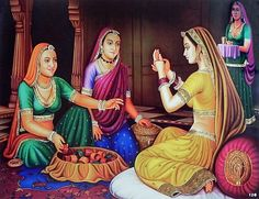 Bangle Seller Selling Bangles to Rajput Lady (Reprint on Paper - Unframed) Art Village, Indian Village, Indian Women Painting, Indian Art Paintings, Indian Folk Art, Indian Artist, Rajasthani Painting, Dancing Drawings, Madhubani Painting