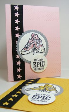 YAY, it's the weekend! For this month's stamp club, we used SU's new blends, using the sneaker image from Epic C. Kids Birthday Cards, Teen Birthday, Baby Cards, Kids Cards, Men's Cards, Hand Made Greeting Cards, Hand Stamped Cards, Card Sketches, Masculine Cards