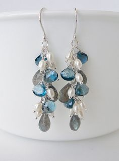 London Blue Topaz Earrings with Labradorite and Pearls, Handcrafted Gemstone Jewelry by BlueRoomGems, $132.00