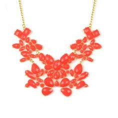 $10 Huan Xun Women's Floral Stone Charm Frontal Bib Bubble Necklace Red [Jewelry] HUAN XUN