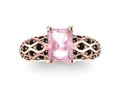Rose Gold Engagement Ring Black Diamond Morganite Engagement Ring Wedding Emerald Cut 14K Rose Gold Ring Emerald Cut Morganite Ring - V1040 by JewelryArtworkByVick on Etsy https://www.etsy.com/listing/202467594/rose-gold-engagement-ring-black-diamond
