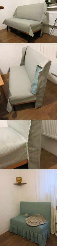 how to upholster a sofa bench Diy Sofa, Furniture Makeover, Diy Furniture, Couch Covers, Soft Furnishings, Slipcovers, Diy Home Decor, Upholstery, Decoration