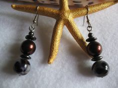 Chocolate, Leopard Shell Pearls and Hematite