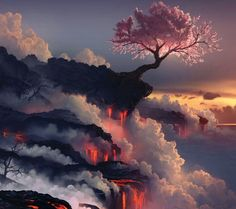 Beautiful cherry blossom tree on top of a volcano lava fall