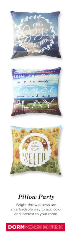 Comfortable for lounging (oh, and studying, too), accent pillows add a pop of color to help make your dorm room your own. Plus, they're the perfect accessory to jazz up any space!