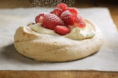 Try out this delicious Pavlova recipe -- a New Zealand's national dessert. The Pavlova is a meringue shell with marshmallow, whipped cream and fruit.