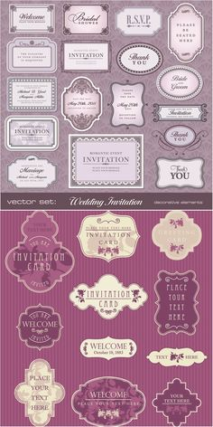 Free vector vintage 28 design elements of vector retro decorative wedding invitation card designs with vintage embellishments frames and labels for your text decorated with stopboris Choice Image