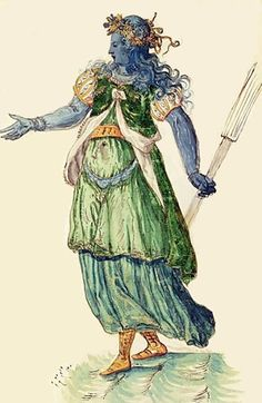"""Costume for a Torchbearer of Oceania from the """"Masque of Blackness"""",1606  by Inigo Jones"""