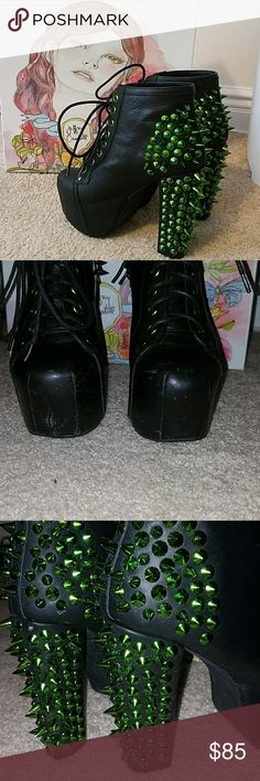 Jeffrey Campbell spiked lita boots Black and green spiked upper leather Jeffrey Campbell  boots. Worn twice, in excellent condition. Missing two studs, comes with bag of replacements in original box Jeffrey Campbell Shoes Heeled Boots