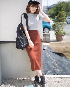 Korean Fashion – How to Dress up Korean Style – Designer Fashion Tips Casual Trendy Outfits, Modest Outfits, Chic Outfits, Fashion Outfits, Modest Clothing, Women's Casual, Skirt Outfits, Summer Outfits, Long Skirt Fashion