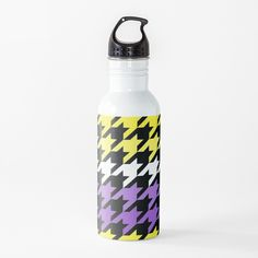 Hounds Tooth, Stainless Steel Bottle, Canvas Prints, Art Prints, Water Bottle, My Arts, Printed, Abstract, Yellow