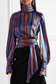 ed915530c8c0e9 Petar Petrov - Open-back striped silk-satin wrap blouse