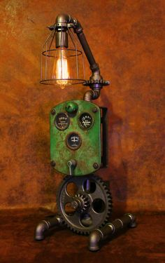 Steampunk machine age gear John Deere instrument panel gauge lamp industrial art