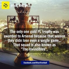 There is a GOLD Premier League trophy. Arsenal Football, Arsenal Fc, Arsenal Pictures, Football Results, Medical Mnemonics, Arsene Wenger, World Of Sports, Premier League, A Team