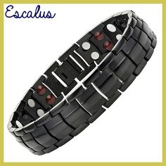 Escalus Men 4in1 Joyas Stainless Steel Bracelet 44pcs Magnets -ve Ions Germanium Infra Red Gold Fashion jewelry Wristband
