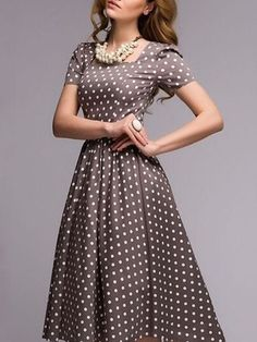 "Buy Square Neck Polka Dot Vintage Skater-dress online with cheap prices and discover fashion Skater Dresses at <a href=""http://Fashionmia.com"" rel=""nofollow"" target=""_blank"">Fashionmia.com</a>."