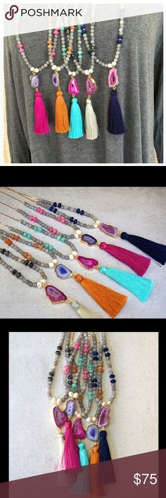 HP 8/6Druzy, Gemstone & Tassel Necklaces! ❤️ Beautiful sparkling long necklaces made with Laboradorite, faceted Jade gemstones and authentic pearl beads with a gold plated agate pendant with bright color tassel. Chain is 18k gold plated. Finished with Function & Fringe gold feather charm at the clasp. Tassels are soft and silky with great movement. Separate photos and listings coming soon. Comment with your tassel color and I will create a separate listing. Made with ❤️ in California…