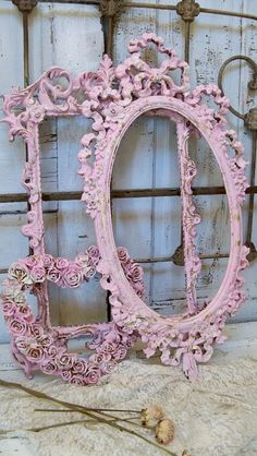 Shabby chic frame set pink distressed wall by AnitaSperoDesign, $280.00