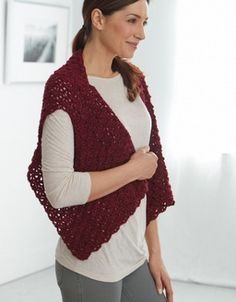 Cranberry Sauce Shrug ~ intermediate level ~ gorgeous & comfortable ~ great for lounging on chilly days ~ FREE - CROCHET