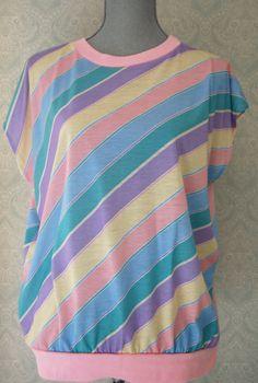 80s Pastel Diagonal Stripes Cap Sleeved Top