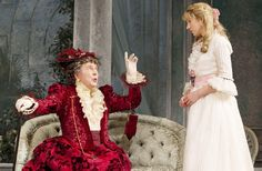 Brian Bedford as Lady Bracknell and Charlotte Parry as Cecily Cardew in The Importance of Being Earnest.