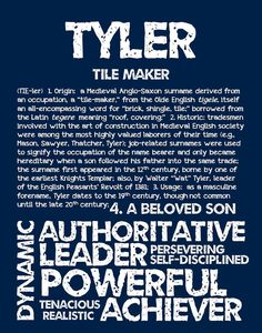 Items similar to TYLER Personalized Name Print / Typography Print / Detailed Name Definitions / Numerology-calculated Destiny Traits / Educational on Etsy English Surnames, Name Inspiration, Numerology Chart, Book Writing Tips, Love My Boys, Typography Prints, Boy Names, The Borrowers, Education