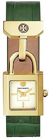 Tory Burch Surrey Watch, Green Leather/Gold-Tone, 22 X 23.5 Mm