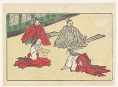 Kawanabe Kyôsai   Hovelingen, Kawanabe Kyôsai, c. 1870 - c. 1880   Twee mannelijke en twee vrouwelijke hovelingen, zittend in kamer.