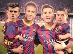 Luego del #Derby, posando para la foto #Barcelona #Madrid #Messi #Neymar