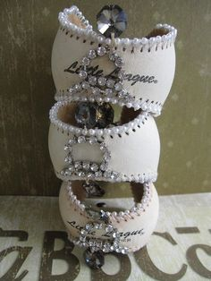 So neat! Baseball cuffs for baseball moms!!! by beulah @Leslie Lippi McIntosh