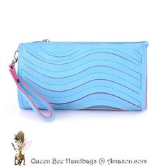 OCEAN BLUE - A cute and trendy clutch style wallet purse, with a wave laser cut detailing. Great for casual daytime fashion wear. Optional shoulder strap. $13.99 on Amazon.com. #clutches #wallets #purses #lasercut