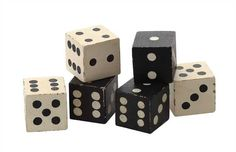 Square Hand Carved Mango Wood Black and White Dice, Set of 6