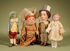 "Rare Martha Chase ""Alice in Wonderland"" Four-Piece Set, Pawtucket, Rhode Island, c. 1920, Alice, The Mad Hatter, the Duchess, and one Frog Footman."