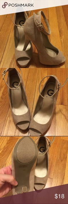 Worn once Guess heels Tan great fit cute for any occasion Guess Shoes