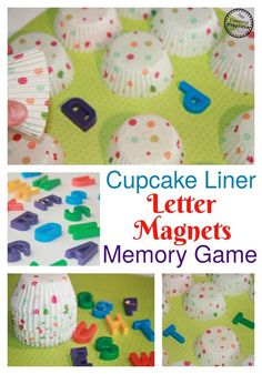 Cupcake Liner Hidden Letter Matching Activity - Cover the letter magnets with cupcake liners. Play memory to match the letters. Name Activities Preschool, Birthday Activities, Alphabet Activities, Color Activities, Reading Activities, Preschool Learning, Fun Learning, Kindergarten Language Arts, Kindergarten Themes