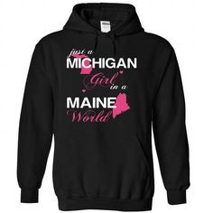 (MIJustHong001) Just A Michigan Girl In A Maine World - #gift bags #cool gift. ACT QUICKLY => https://www.sunfrog.com/Valentines/-28MIJustHong001-29-Just-A-Michigan-Girl-In-A-Maine-World-Black-Hoodie.html?68278
