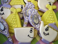 Beauty and the Beast Teapot, dress mirror and chip decorated cookies.